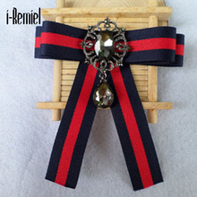 I-remiel 2017 Zinc Alloy Trendy Special Offer Broches For Women Broche Brooches Pin New Fashion Stripe Bow Brooch Shirt Dress(China)