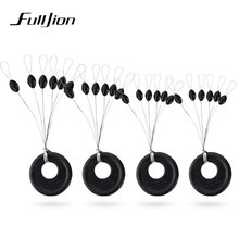 Fulljion 50pcs/lot Fishing Bobber Float Connector 6 in 1 Size XS/S/M/L Black Rubber Oval Stopper Fishing Tackle Accessories(China)