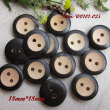 18mm dark brown natural wood button European decorative buttons for craft  material diy accessories wholesale 2 hole