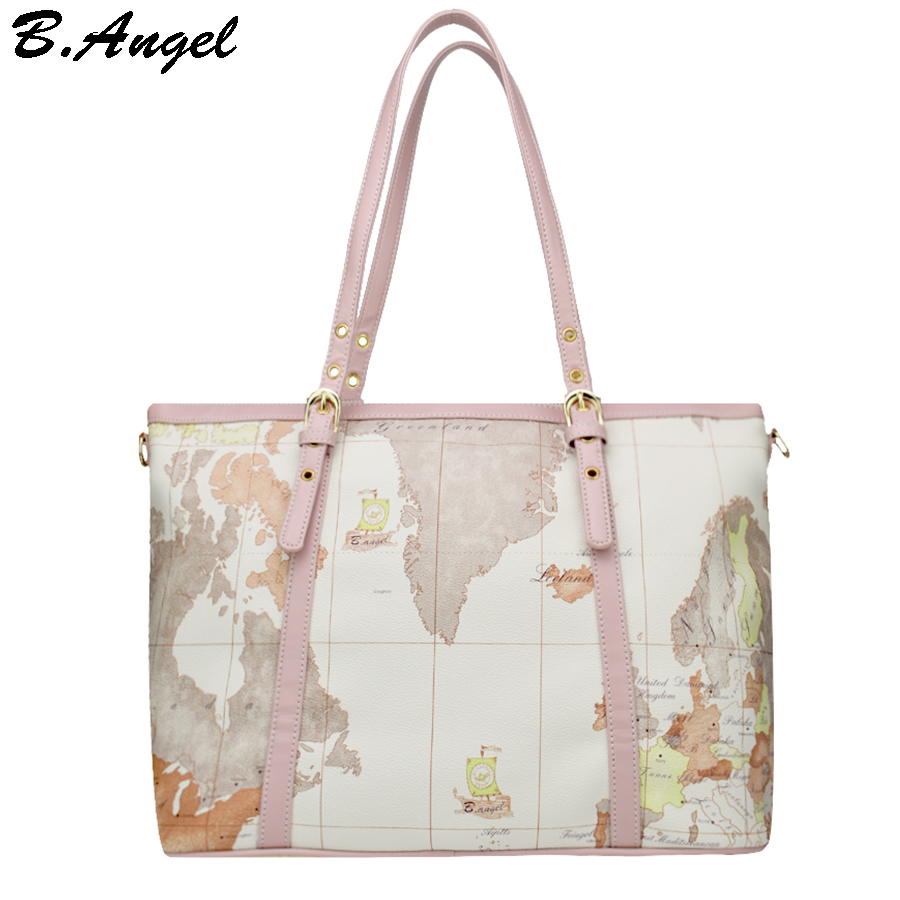 High quality world map women bag fashion women messenger bags big tote bag special handbag brand designer shoulder bag HC-W-6997<br>