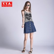 Buy Women 2018 New Summer Mini Skirt Line Single Breasted Denim Saia Feminina Plus Size S-5XL Jeans Skirts Slim Fit Streetwear for $26.22 in AliExpress store