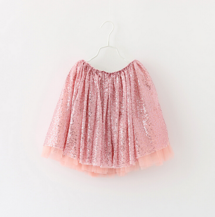 New Girls Child Sequined Mesh Ball Gown Skirts Pink, Princess Fashion Dance Tutu Skirt 6  pcs/lot, Free Shipping