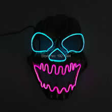 EL wire Mask Sound activated Halloween Light up vampire Mask EL wire Festival LED Glowing Carnival SKULL Shock Party Mask(China)