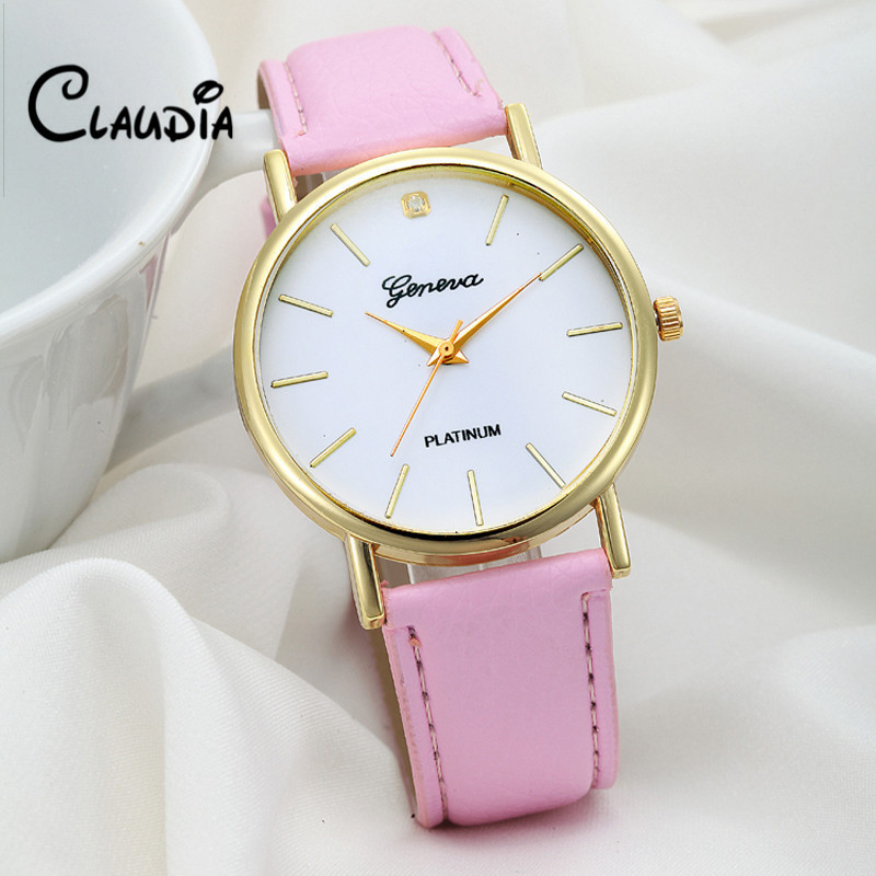 Newest CLAUDIA Womens Fashion Design Dial Leather Band Analog Geneva Quartz Wrist Watch FreeShipping 2016 Hot sale Reloj Mujer<br><br>Aliexpress