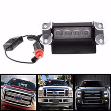 4 LED Flash Boat Truck Car Flashing Strobe Warning Light Polie/Fire/Emergency Windshield Unit 3 Modes Lamp Blue Red Amber