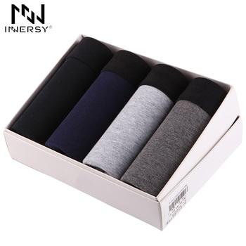 Innersy 2017 calcinhas dos homens 4 pcs muito \ underwear cotton boxer men boxer underwear sólida plus size boxers respirável mens underwear