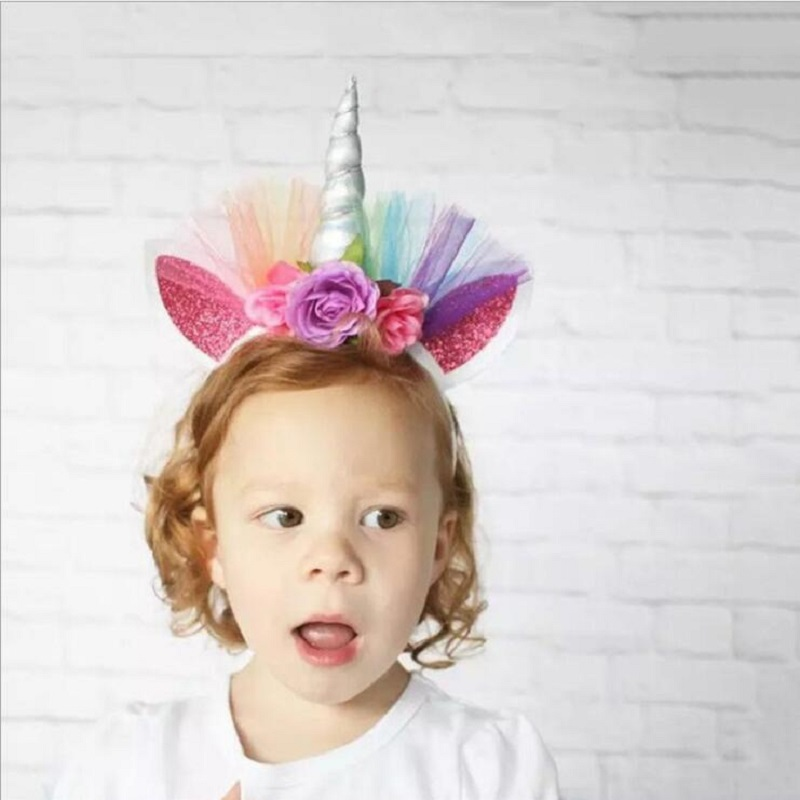 4 Patterns Lace Rainbow Unicorn Hairband Party Mask Birthday Decoration Masquerade Mask Kids Baby Shower Party Favors