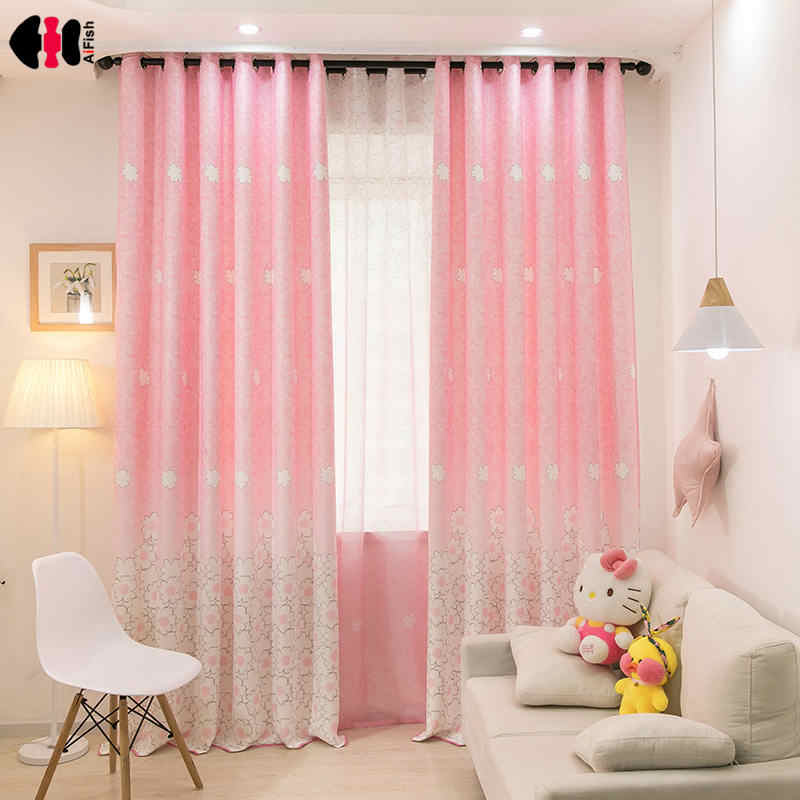 Pink Floral Print Curtains for Kids Room Bedroom Princess Girl Cute Cartoon Pastoral Bay Window Drapes JS49C