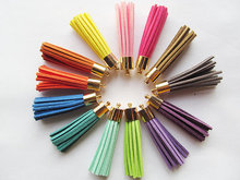 Free Shipping 10Pcs 56mm Mixed Suede Leather Jewelry Tassel For Key Chains/ Cellphone Charms Top Plated End Caps Cord Tip