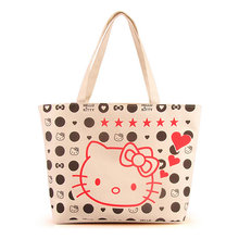 Cartoon Hellokitty Canvas Tote Bag Women Handbag Shoulder Bags Women Shopping Bags Beach Bag Kitty Cat Handbag(China)