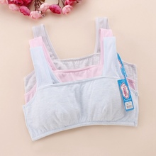 2017 Newest Training Bra For Puberty Children Comfortable Breathable Girls Bra Blue Grey Pink(China)