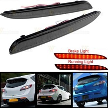 2X Smoke Bumper Reflector RED LED Tail Brake Light For 2010-2013 Mazda 3 Mazda3 4-Door Mazdaspeed3