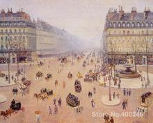 Famous Handmade oil paintings by Camille Pissarro Avenue de Opera Place du Thretre Francais Misty Weather wall art High quality