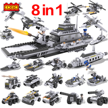 Building Blocks Aircraft Airplane Ship Bus Tank Decool Duplo Police City Military Carrier 8 1 Model Toys Best Kids Xmas Gift - AN Block Store store