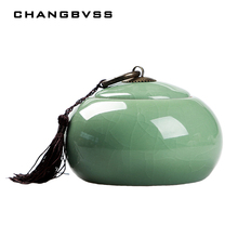 Chinese Ceramic Food Box With Cover,Top Grade Crackle Glaze Longquan Celadon Ceramics Tea Caddy Tea Canister Tea Porcelain Jar(China)