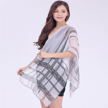 2016 new women's fashion ultra-thin soft chiffon scarves scarf new chiffon lace printed silk shawl(China)