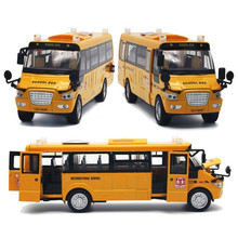 1:32 Diecast American School Bus Model Large Alloy Student Yellow Pull Back School Bus With 5 Doors Music Light For Children Boy(China)