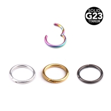 1PC 16G Hinged Segment Ring Titanium Septum Clicker Piercing Nose Lip Ear G23 Titanium Solid Nose Piercing Body Piercing Jewelry