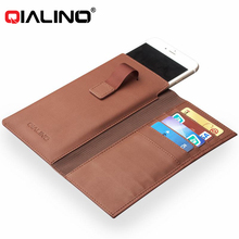 QIALINO With Card Slot Holder Genuine Leather Wallet Flip Case For Iphone 7 6 Plus Phone Bags Pouch Back Cover Housing Purse