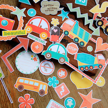 NEW! 50pcs/pack Cute Car Decorative Pre Die Cut Stickers for DIY Scrapbooking Planner/Card Making Craft