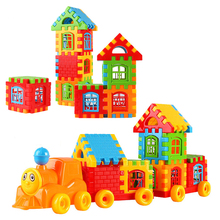 128pcs DIY Designer City Train Blocks Toys Building Blocks Train Set Intellectual Toys Baby Letter Educational Toy For Kids(China)