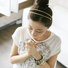 New Design Casual Metal Crystal Headband Head Piece Hair Band Jewelry For Women Gold