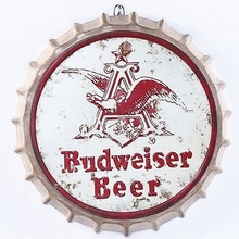 Budweiser Beer Large 3D Beer Cover Tin Sign Logo Plaque Vintage Metal Painting Wall Sticker Iron Sign Bar KTV Cafe Decorative(China)