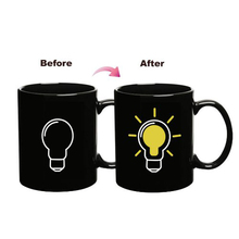 Practical Light Bulb Design Heat Sensitive Colour Change Coffee Milk Mug Magic Black Tea Mug Office Gift