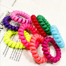 10pcs/Lots Candy Color Hair Rope Telephone Line Hair Rubber Elastic Plastic Headband Hairband For Women Girls