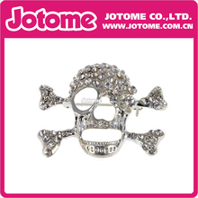 Clear Crystal Rhinestone Skull Jagged Face Bones Pirate-like Fashion Pin Brooch for Men and Ladies(China)