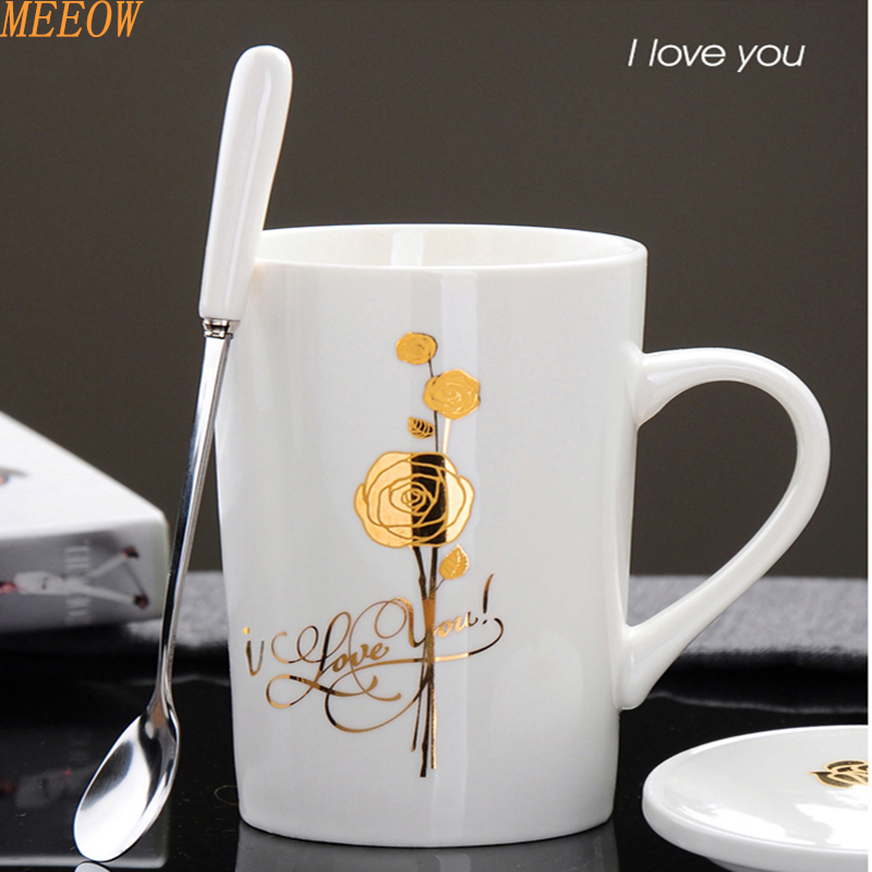 MEEOW Golden Rose Coffee Mug Lovers Mug Newest Design Colorfull Cute Cup Fashion Ceramic Cup With Spoon And Cup over(China)