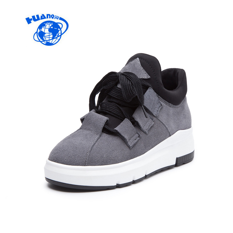 HUANQIU Genuine Cow Leather Casual Sneakers for Women Autumn Winter Lace Up Thick Bottom Leisure Shoes Black Gray Brown 34-40<br>