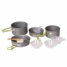 New Durable Senior Hard Aluminum Oxide Outdoor Hiking Camping Cookware Cooking Picnic Bowl Pot Pan Set Portable DS-301(China)