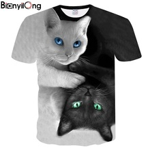 Buy 2018 New Cool T-shirt Men/Women 3d Tshirt Print two cat Short Sleeve Summer Tops Tees T shirt Fashion for $8.03 in AliExpress store