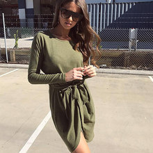 Buy New Fashion Hot Sale Office Solid Autumn Dres 2017 O-Neck Knee-Length Long sleeve Women Dress Plus Size Vestidos Sexy Dresses for $12.99 in AliExpress store