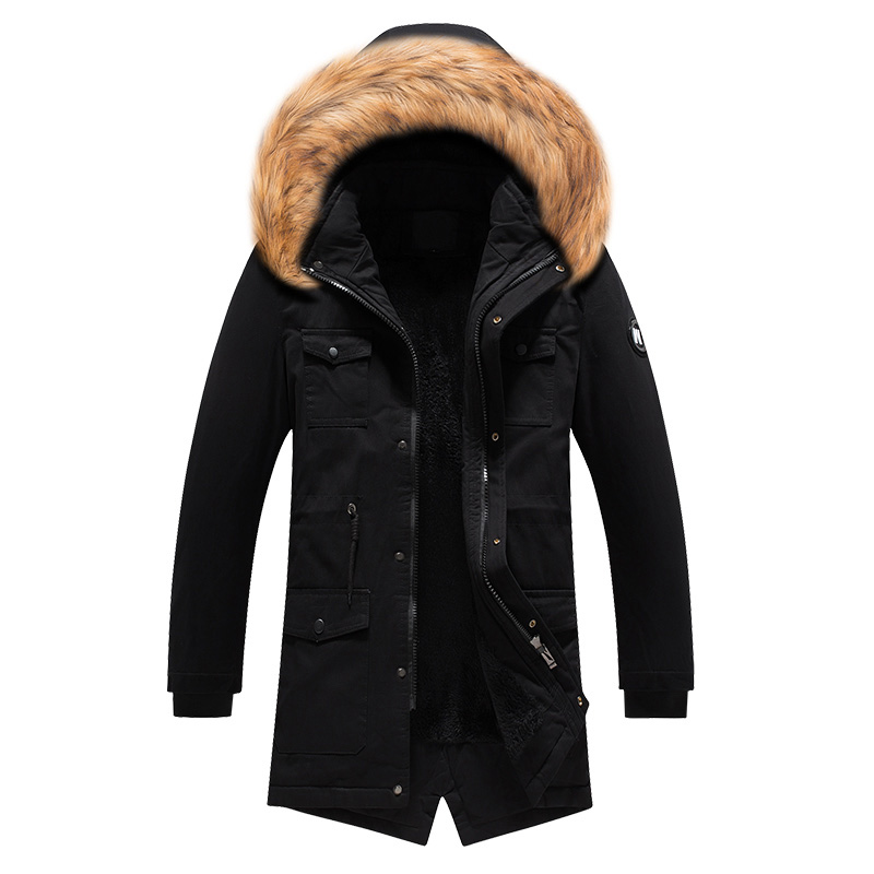 2018 Fashion Winter Long Jacket Men Solid Color Fur Collar Hooded Coat Outwear Classical Windproof Trench Thick Warm Parka Men