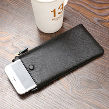 2017 Universal Phone Bag Genuine Cow Leather Cell Phone Wallet Women Purse Zipper Money Bag Fashion Coins Holder Female Black(China)