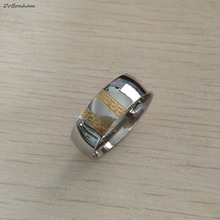 Never fading silver gold color engagement men ring textured greek key stainless steel wedding Rings wholesale 8mm