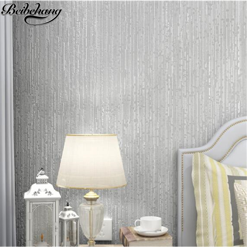 beibehang Simple modern flocking nonwovens wallpaper warm pure plain vertical stripes living room TV wallpaper papel de parede<br>