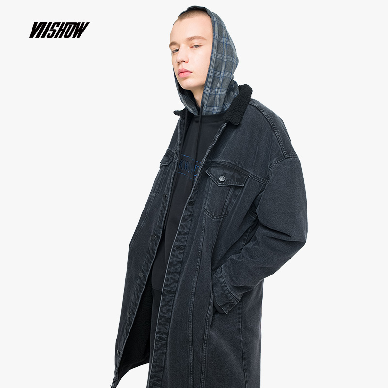 VIISHOW Denim Men's Coat Brand Trench Coat Men Cotton Abrigo Hombre 2018 New Long Coat Men Trench Coat Kaban Erkek FC1971184