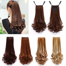 Long Curly Wavy Ponytail Synthetic Clip-in Hair Extension Hairpieces ponytails Natural Hair Women's Pony-tail Horse Tress