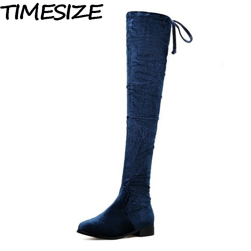 TIMESIZE Autumn Winter Women Plush Snow Boots Over The Knee Thigh High Velvet Flock Stretch Boots Side Zipper Block Heel Shoes<br>