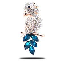 B005 Crystal Parrot Brooch For Women Gold And Silver Color Rhinestone Brooch Jewelry & Jewellery Christmas Gift Brooch Pins(China)