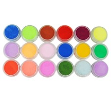 18 Pcs Mix Colors Acrylic Powder Dust Decoration Set for False Tips Nail Art Manicure Acrylic Powder For Nail(China)