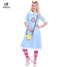 American Anime Star vs. The Forces of Evil Women Cosplay Costume Princess Star Butterfly Blue Long Dress With Messenger Bag(China)