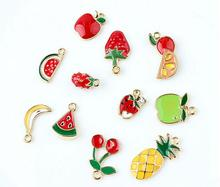 9 PC/pack mini cute fruit charms for women girl lovely multi colors apple banana cherry strawberry pineapple charm free shipping
