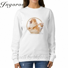 Babaseal Spitz Dog Embraces A Cat In Basket Harajuku Long Sleeve Hoodies Hip Hop Tie Dye Hoodie Letter Best Friend Sweatshirt(China)