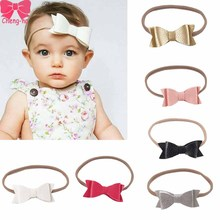 6pcs/Set Cute Leather Hair Bows Headband With Elastic Nylon Hair Band For Newborn Girls Boutique Hair Accessories()