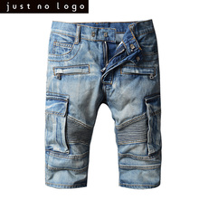 Mens Summer Distressed Biker Style Denim Jeans Shorts Ripped Bleached Blue Bermuda Jogger Casual Frayed Knees Length Shorts