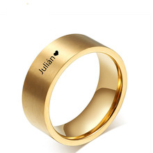 Unique Personalized Gold Name Rings ,Gold Stainless Steel Custom Wedding Bands For Men Women Wedding Gift, Free Engraving